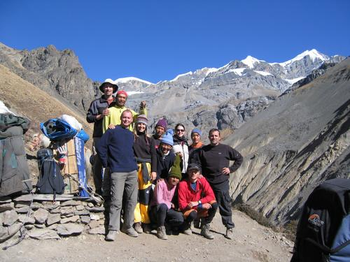 Multinational Trekking Assault Team stopping for tea