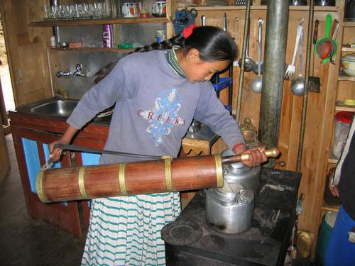 Making yak butter tea