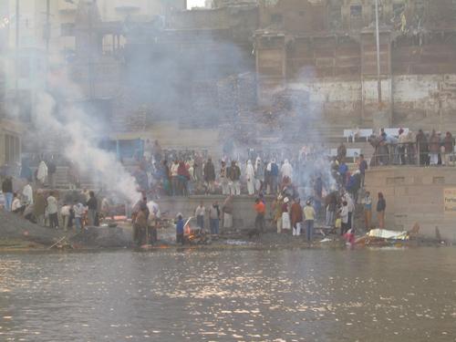 The burning ghats (cremations) of Varanasi