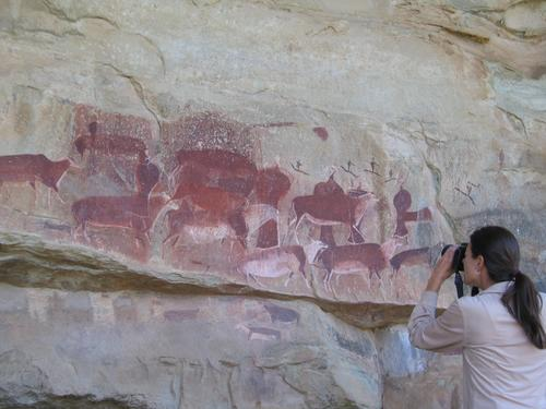 Ancient Bushmen cave paintings in the Draakensberg Mountains