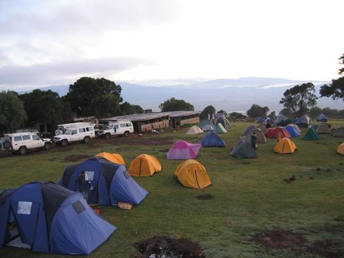 Campsite on the rim of the Ngorongoro Crater