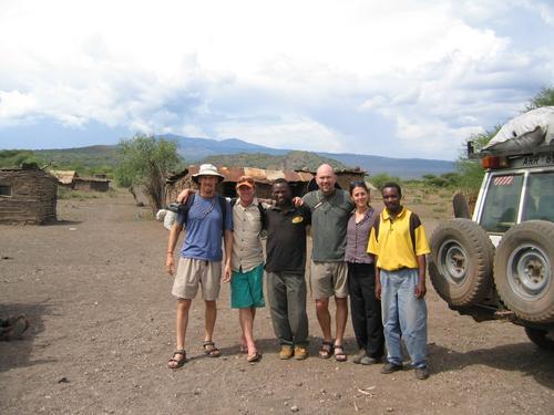 "The Safari Crew: Robert, Agent Beckey, Sherif (cook), ""Cop Rob"" Frankland, Alexandra, Omar (guide)"