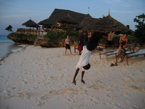Tunda, our hotel waiter, jumping over backwards for us